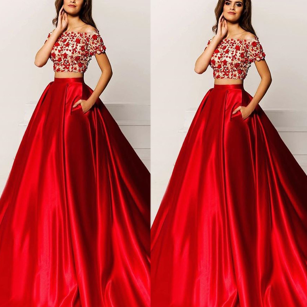 Two Pieces Red Prom Dresses, Lace A Line Prom Dresses, Satin Red ...