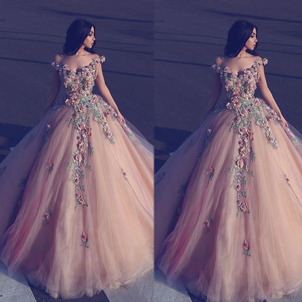 Ball Gown Prom Dresses, Flowers Prom Dresses, Elegant Champagne Prom ...
