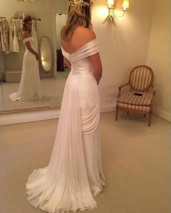 Goddess Off Shoulder A-Line Beach Wedding Gown,Lace Chiffon Wedding ...