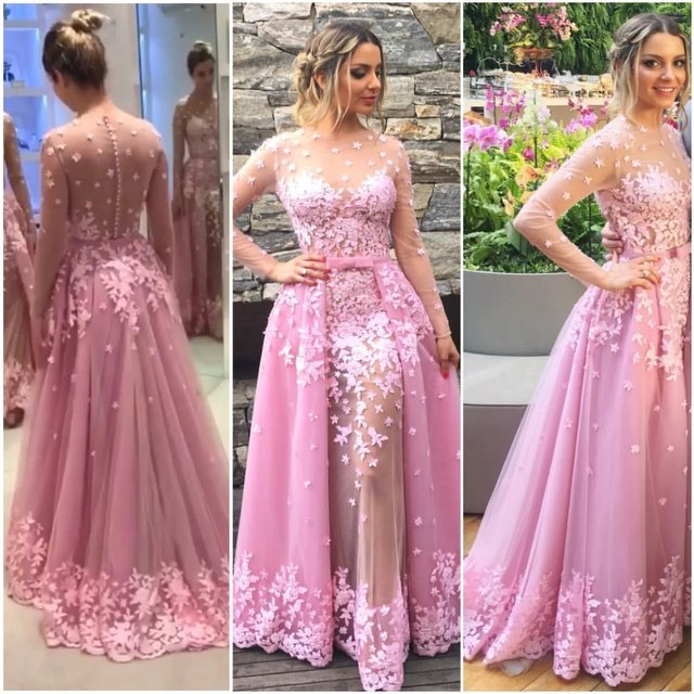 Beautiful Prom Dresses,Ball Gown, Pink Lace Prom Gowns,Lace Formal ...