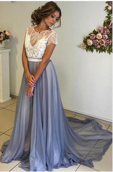 Trendy Prom Dresses,Scoop Prom Dress,Floor-Length Prom Dress ...