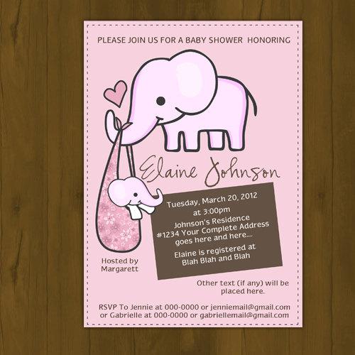 Elephant baby shower printed invitations pink blue purple brown elephant baby shower printed invitations pink blue purple brown elephant invites thumbnail 1 filmwisefo