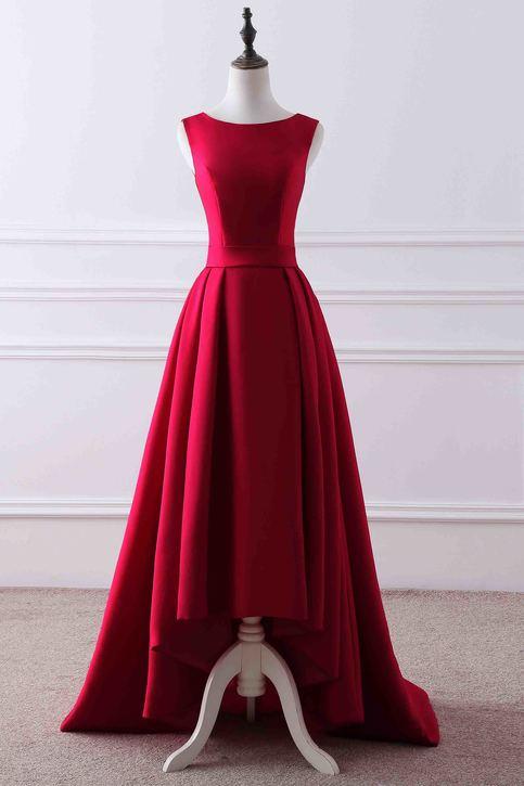 Red matte satin round neck high low train evening dress ...