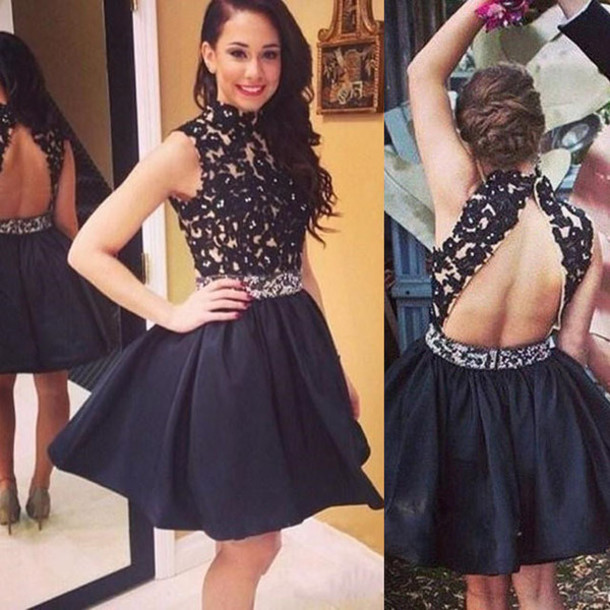 Am128 Homecoming Dresses Lace Homecoming Dresses Black Homecoming