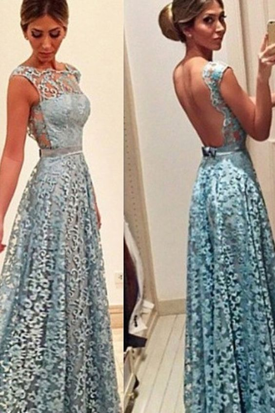 Lace Open Back Prom Gowns