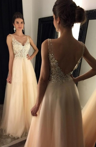 Champagne a line v neck beading long prom dresses evening for Dream prom com wedding dresses