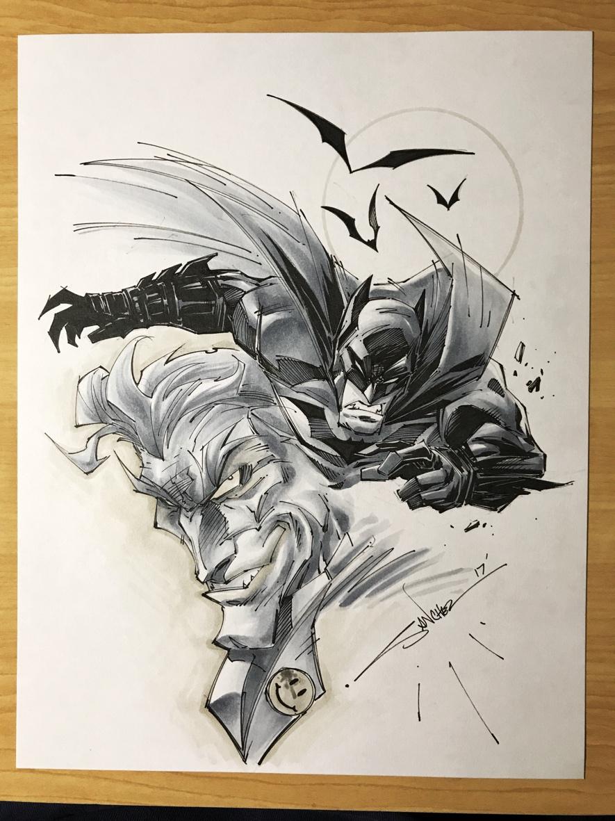 original art batman joker copic colored
