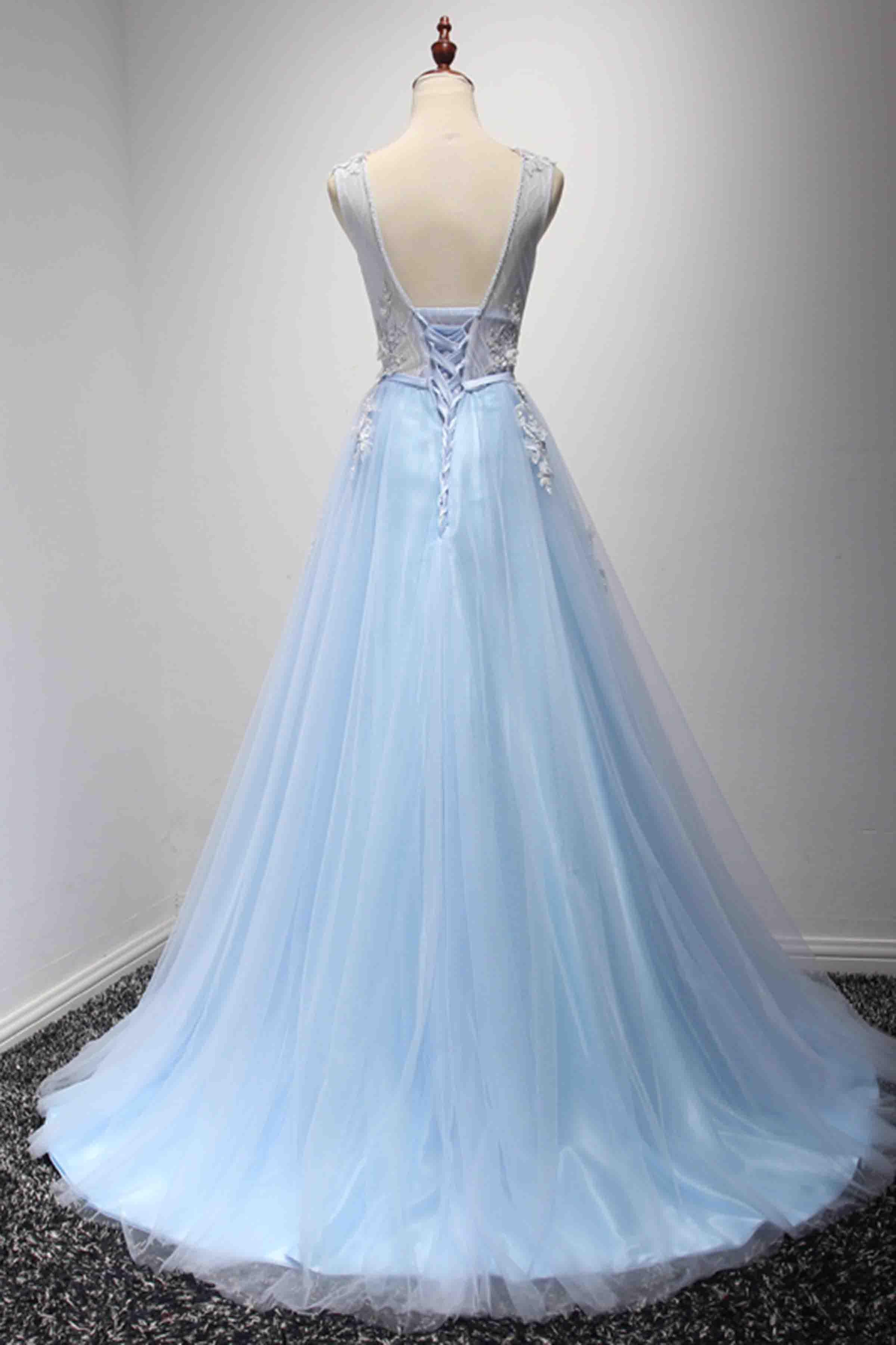 Light blue tulle lace applique V neck A-line long prom dresses ...