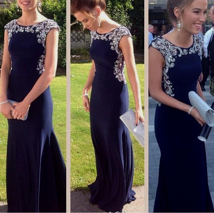 Navy Blue Prom Dress,Mermaid Prom Dress,Cap Sleeves Evening Gowns ...