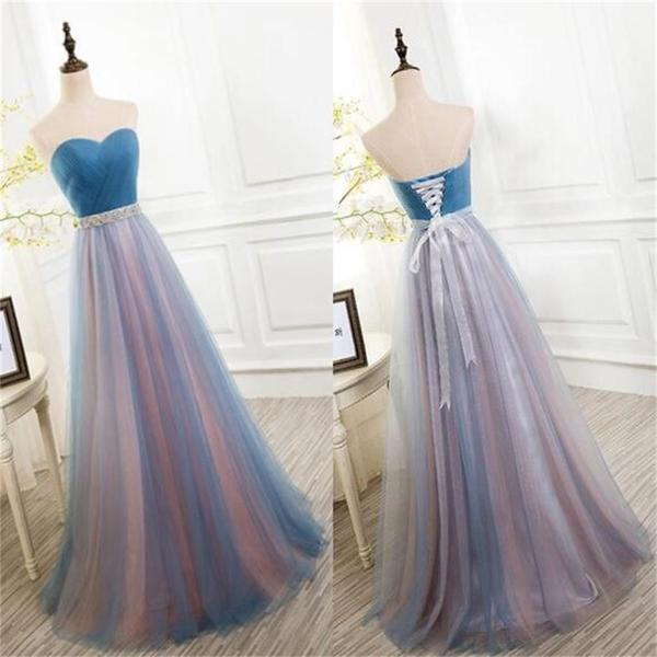 Sweetheart prom dress, long prom dress, tulle prom dress, cheap prom ...
