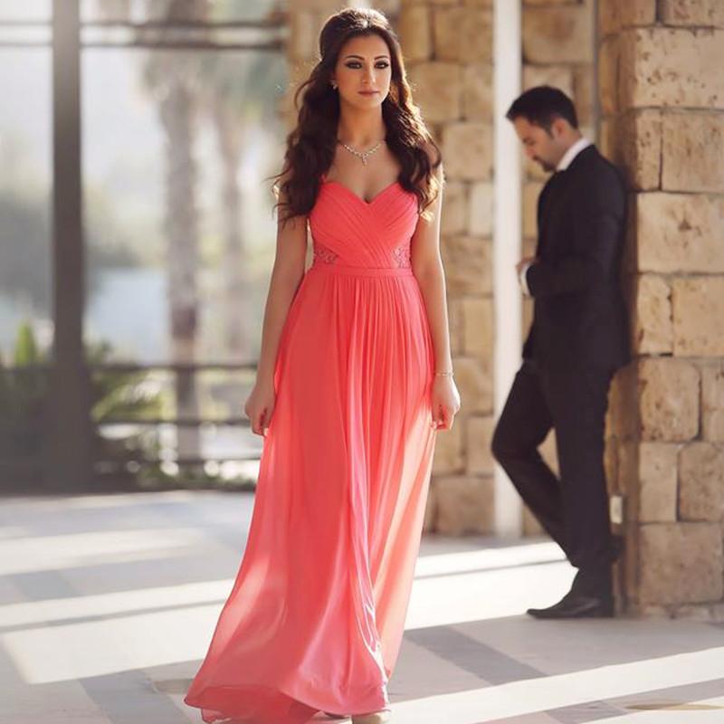 Coral Pink Prom Dresschiffon Evening Dresselegant Evening Gowns
