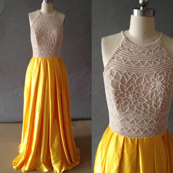Stylish High Neck Pearls Long Prom Dress,Yellow Shiny Satin Prom ...