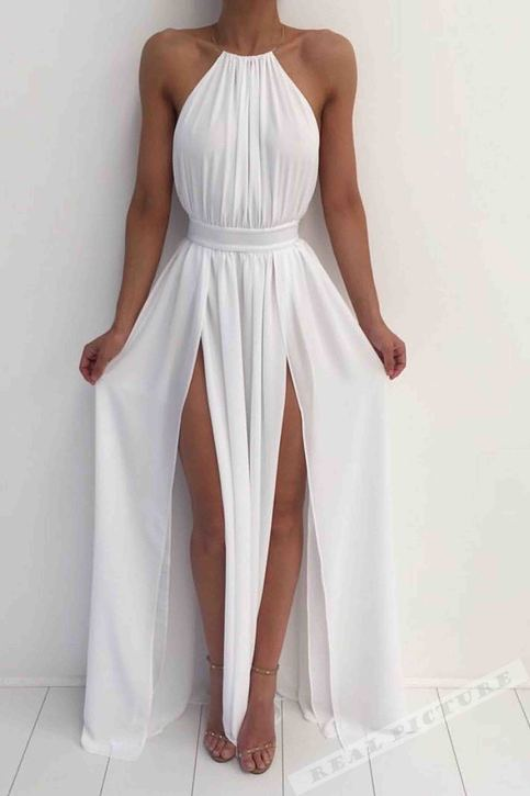 White chiffon round neck slim line slit long prom dress for Simple cream colored wedding dresses
