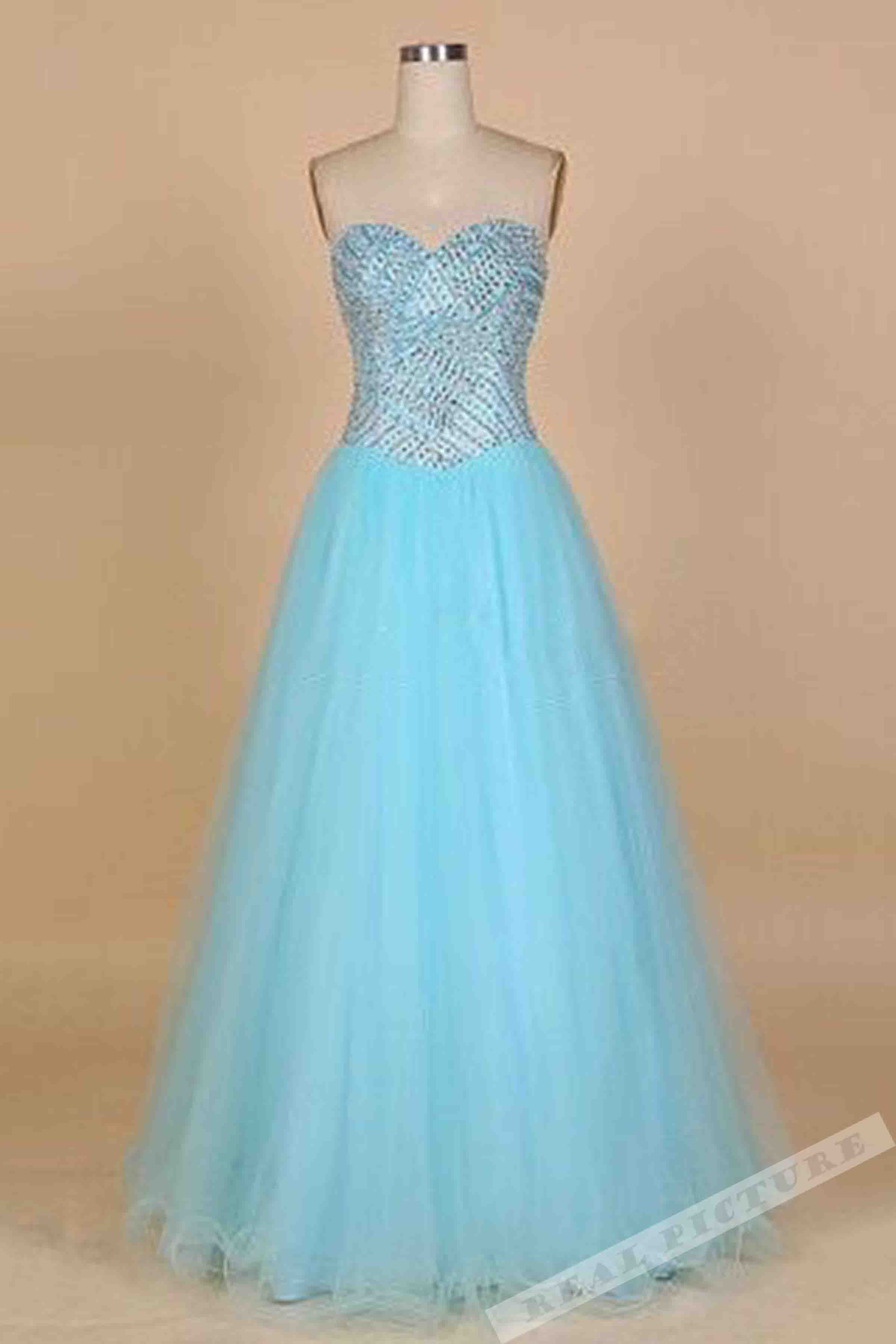 Light blue tulle sweetheart sequins princess long dress,cute dress ...