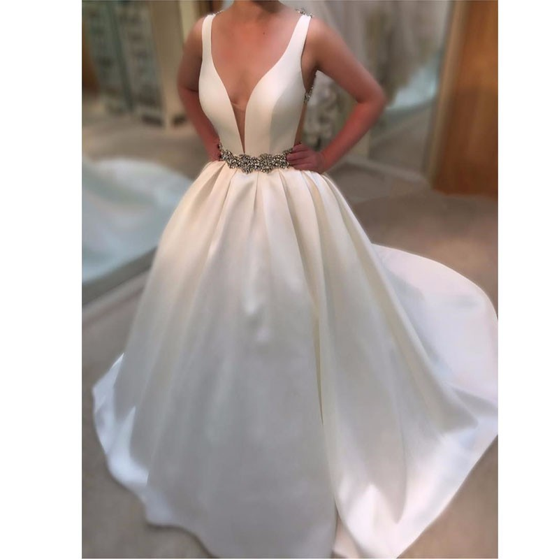 Simple Satin Wedding Dress Ball Gown Wedding Gowns Plus Size