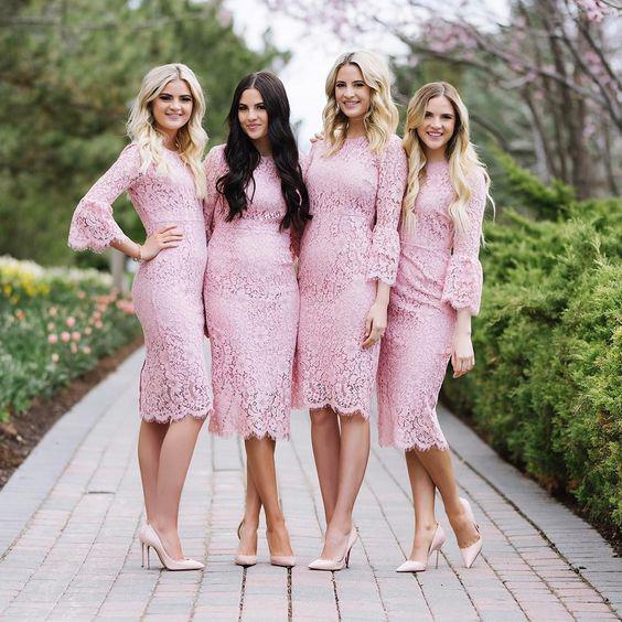 Pink 3 4 Sleeve Dress