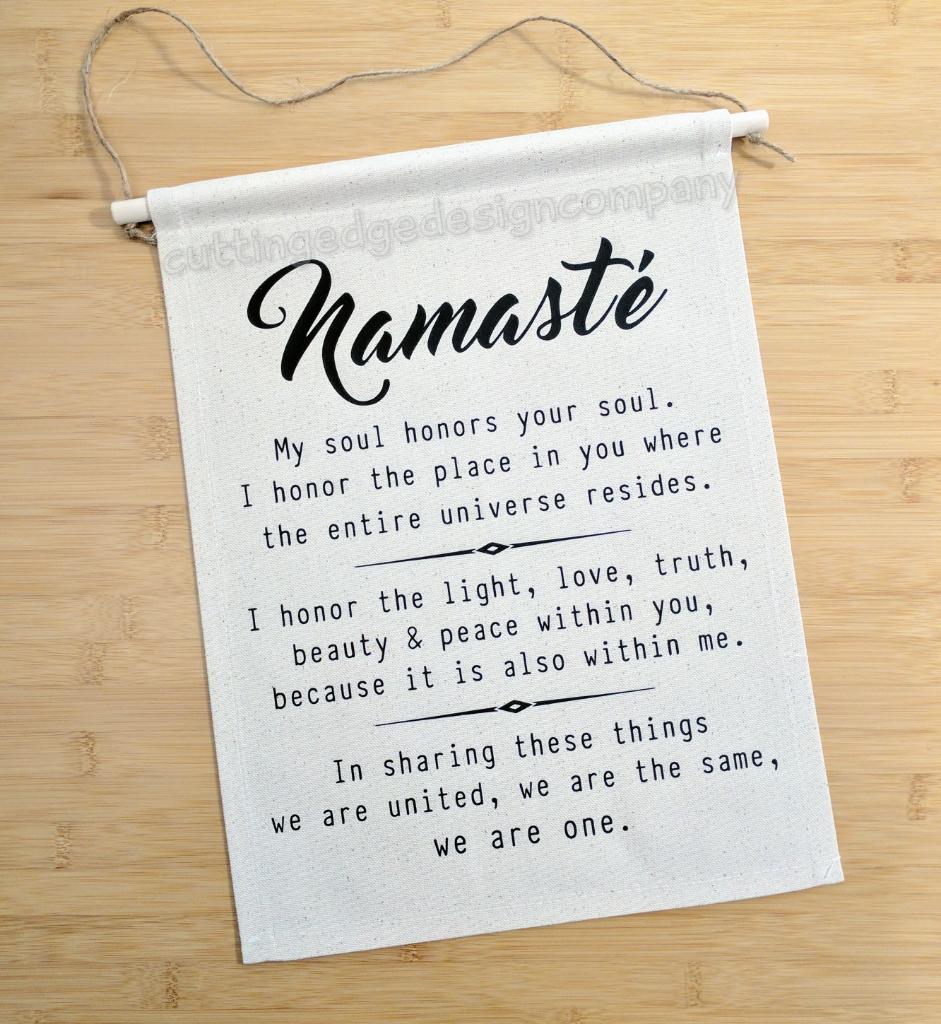 Namaste Definition Cotton Canvas Wall Banner   Namaste Banner   Yoga Banner    Gift for Yoga ...