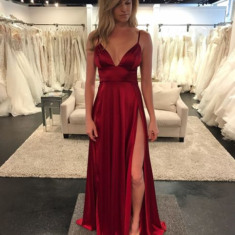 Sexy Wine Red V Neck Prom Dressempire Formal Gownevening Dress