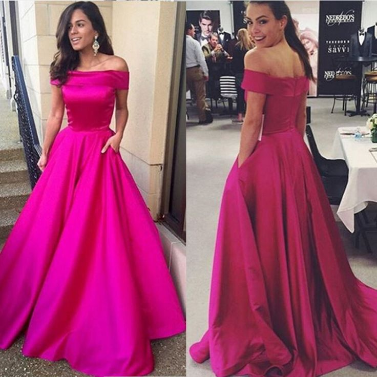 Sexy Fuchsia Off Shoulder Satin A Line Prom Dress, Formal Gown With ...