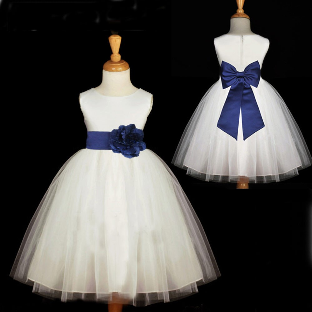 Cute a line white long flower girl dress with navy sash cute a line white long flower girl dress with navy sash izmirmasajfo