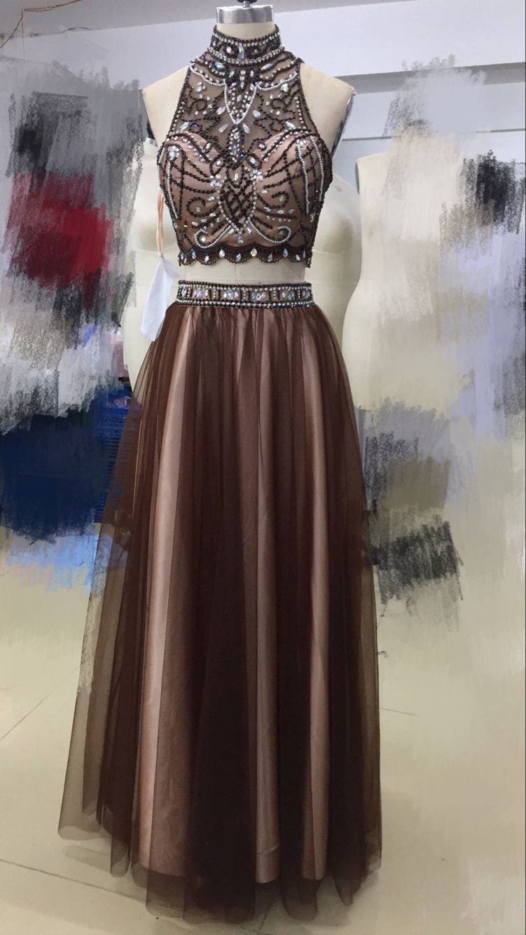 High Neckline Two Pieces Brown Prom Dress Long with Beading ...