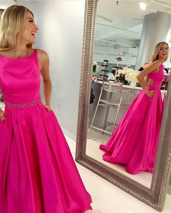 Hot Pink Prom Dress with Pockets, Prom Dresses,Graduation Party ...
