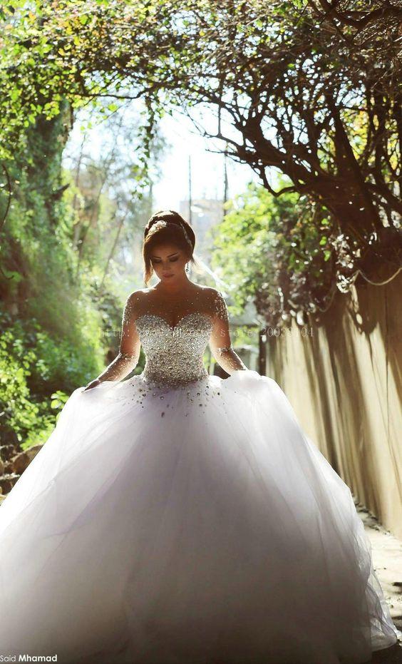 Elegant Ball Gown Wedding Dresses 2015 Long Sleeve Romantic Wedding ...