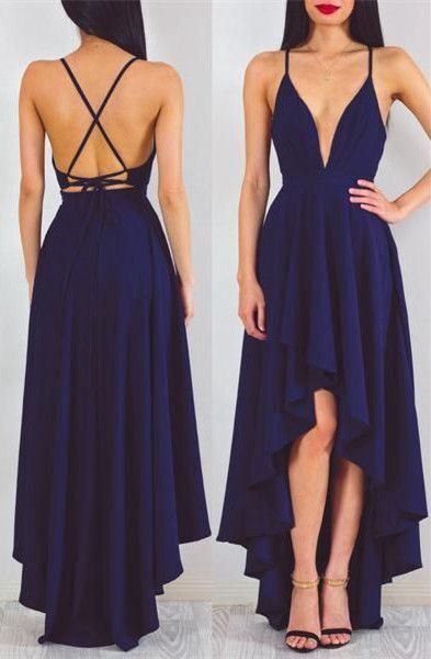 Backless prom dress, high low prom dress, cute navy blue ...