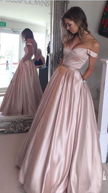 A-line Prom Dress With Pockets, Prom Dresses,Graduation Party ...