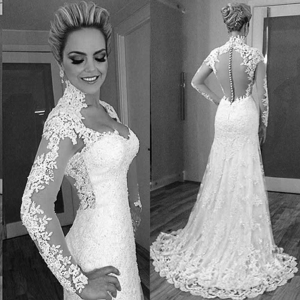 F116 Designer Lace Vintage Long Sleeve Wedding Dress 2017 See ...