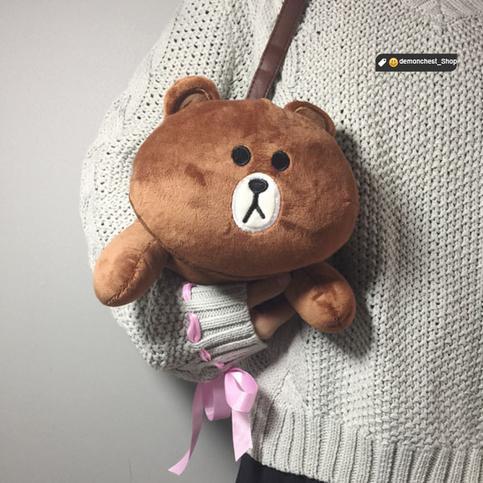 2017 Kawaii Rabbit Bear Plush Shoulder Bag Cute Cartoon ...