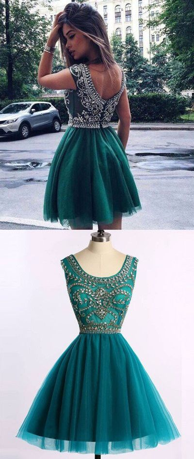 Short prom dress, homecoming dress, hunter green prom dress ...