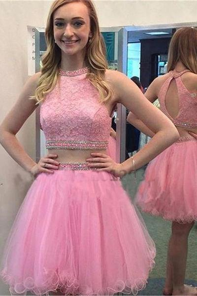 Two Pieces Pink Homecoming Dress,Short Prom Dress,Graduation Party ...