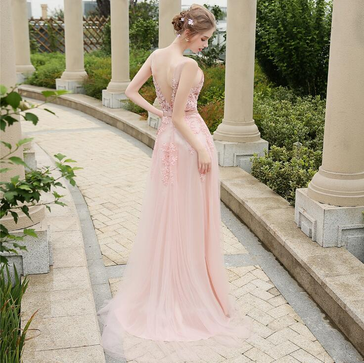 ZX31 Simple elegant cheap pink long lace prom dress,long pink lace ...