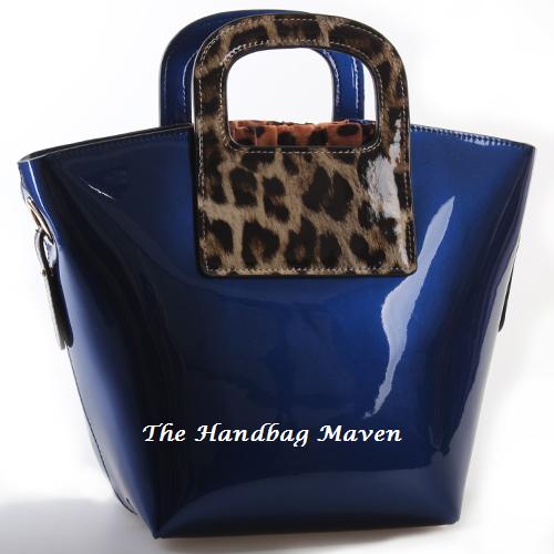 Cobalt Blue Patent LeatherAnimal Print Handbag