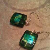 Green Square Shiny Foil Earrings