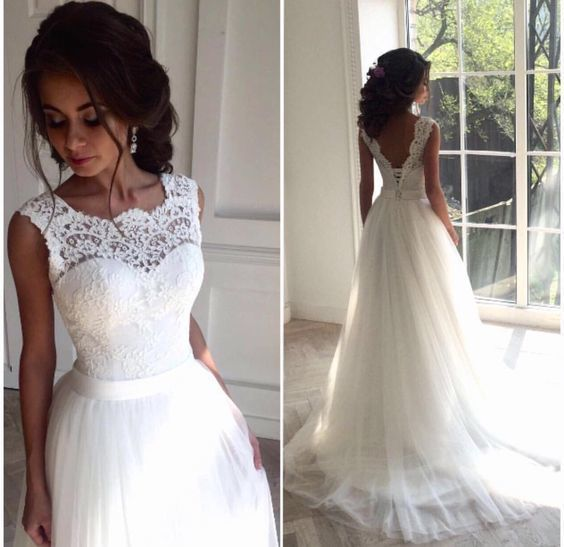 Illusion Neckline Wedding Dress, Lace and Tulle Wedding Dress ...
