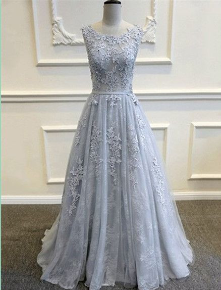 Dusty Blue Lace Tulle Low Back Prom Dress,Greyish Blue Evening Dress ...