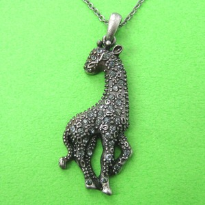 Giraffe Animal Charm Pendant Necklace in Silver with Rhinestones