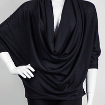 Poncho Sweater Wrap Cowl Neck Solid Knit Tunic Black SML