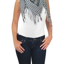 Black & White Classic Houndstooth Checkered Scarf Unisex Shawl Tassle Wrap
