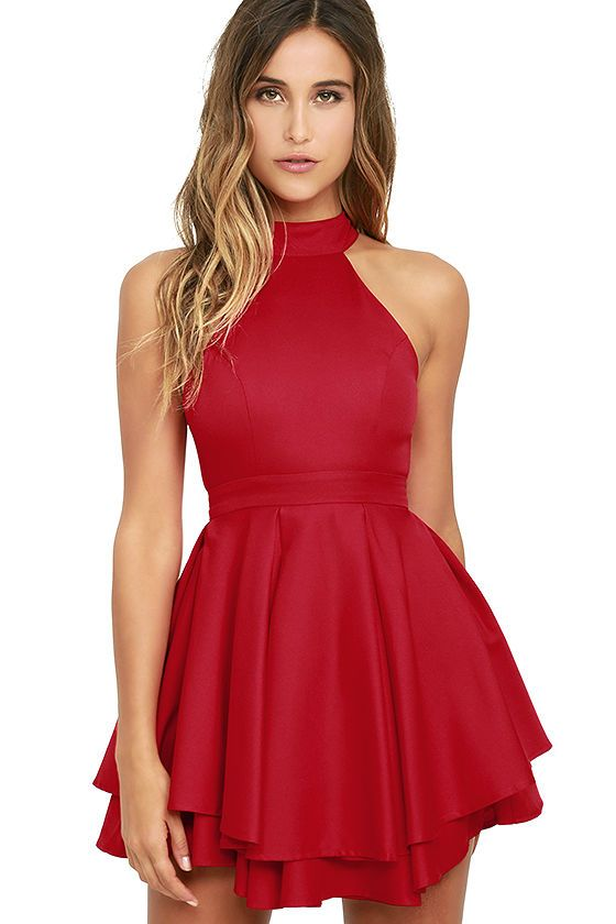 short homecoming dress,halter cocktail dresses,red prom dress ...
