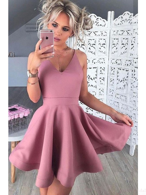 A Line V-neck Short Mini Homecoming Dresses Party Dresses Prom ...