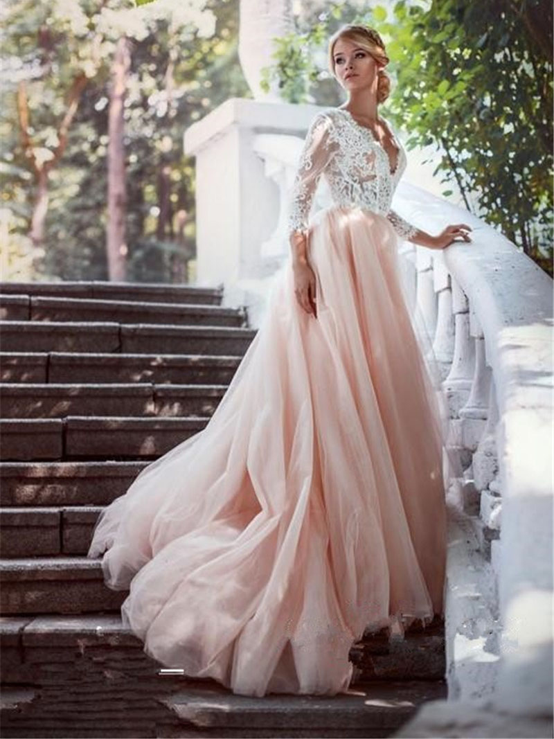 wedding dress, long wedding dress, long sleeves wedding dress, pink ...