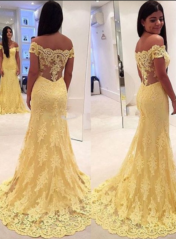 Off the Shoulder Yellow Prom Dresses, Wedding Party Dresses ...