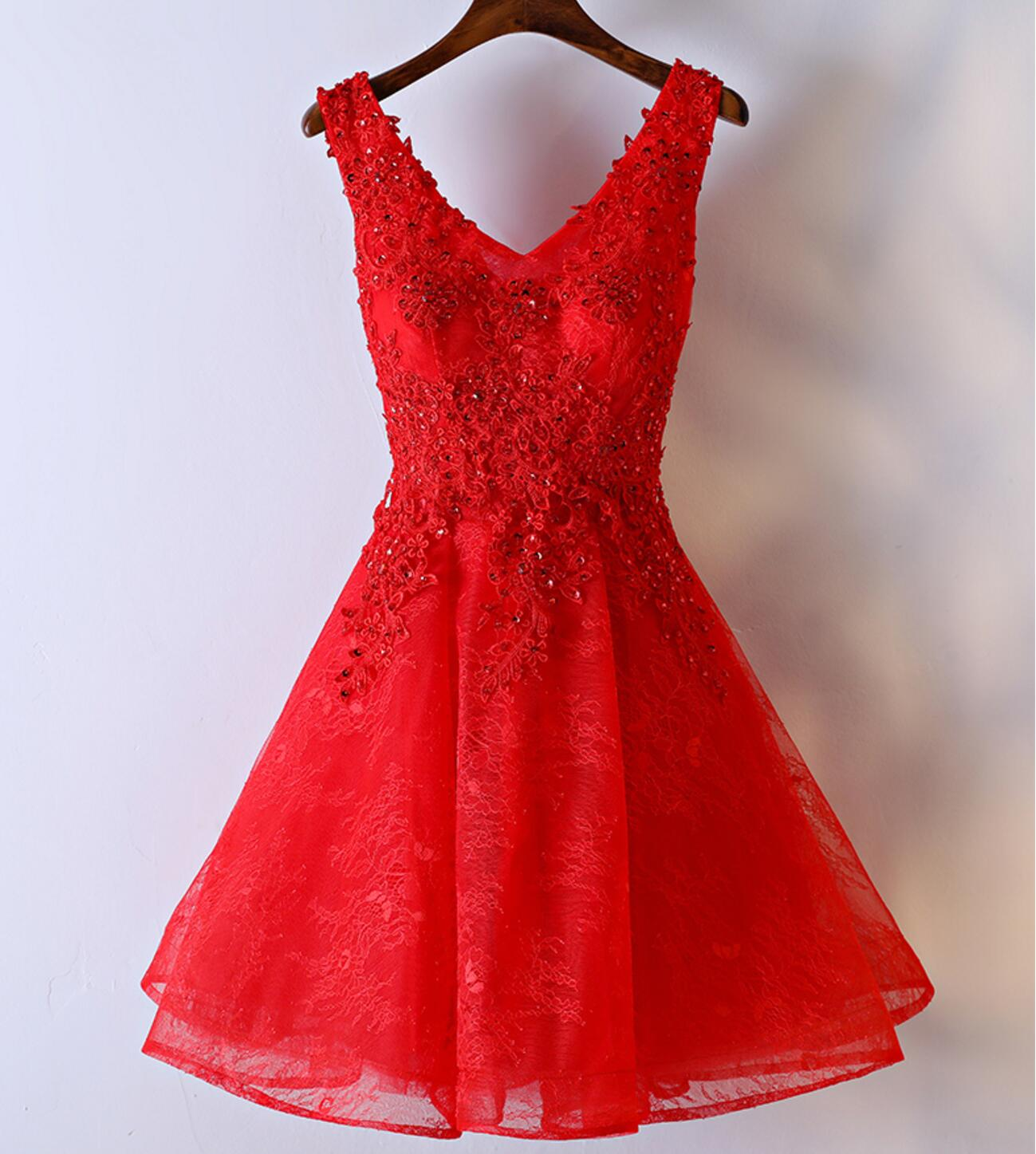 Red Lace V Neckline Homecoming Prom Dresses, Affordable Corset Back ...