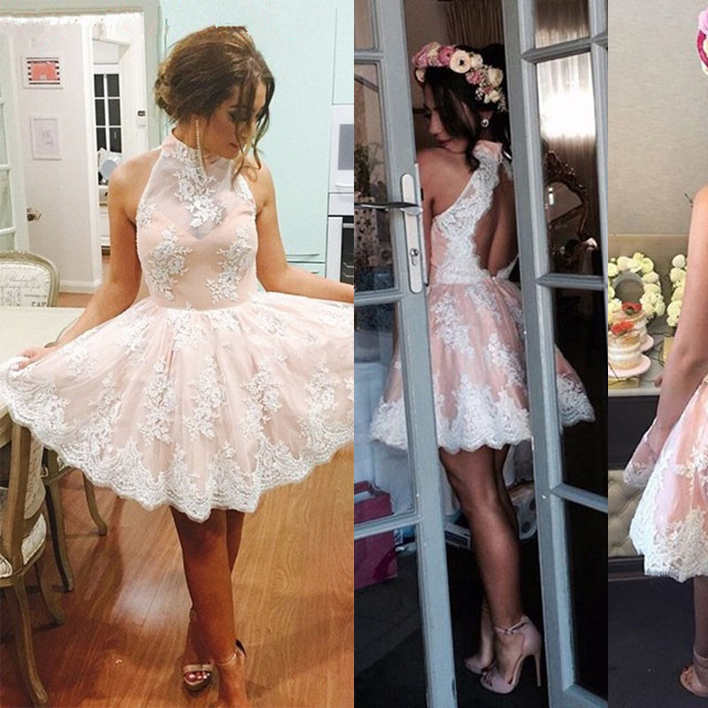 Best A-line Short Prom Dresses, High Neck Lace Homecoming Dresses ...