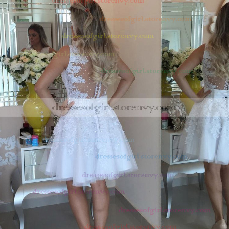 White Homecoming Dresses, Classy Short Prom Dresses, A-line Lace ...
