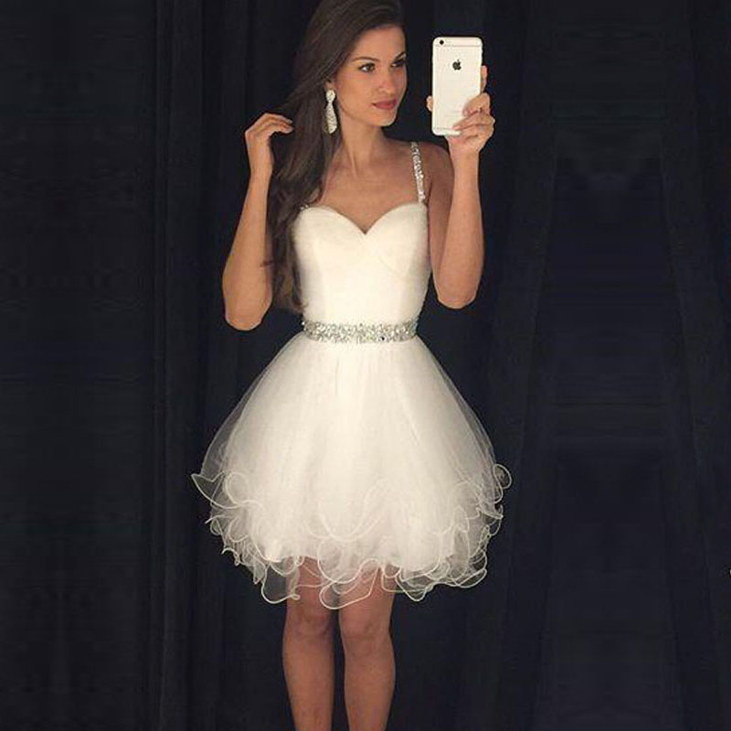 Cute Ivory Prom Dresses, A-line Beading Party Dresses, Sweetheart ...