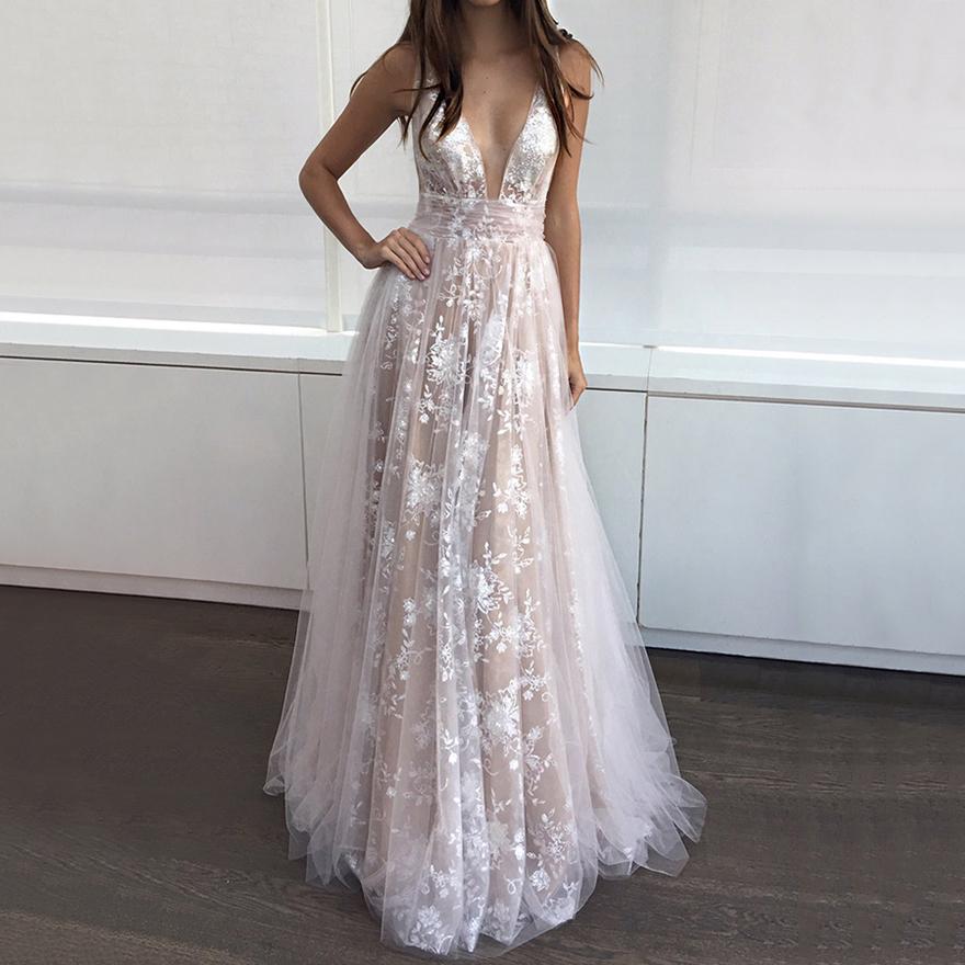 Long Prom Dresses, Fashionable V-neck Lace Evening Dresses, Modest ...
